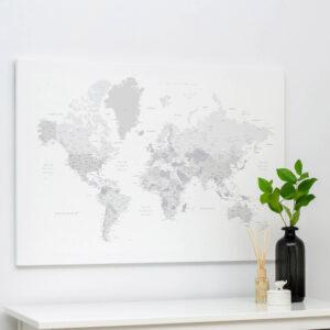 Carte du monde a epingles Blanc gris