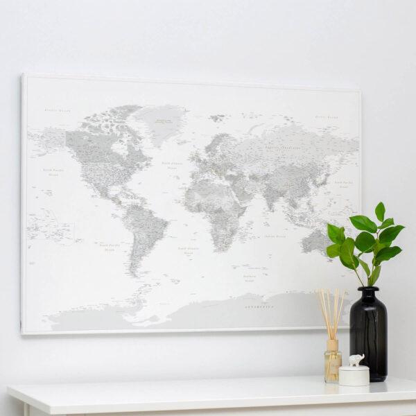 Carte du monde Gris Détaillé tripmap