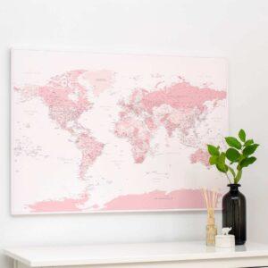Carte du monde Rose Détaillé tripmap