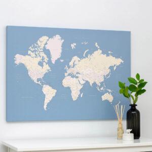 Carte du monde a epingles Bleu clair