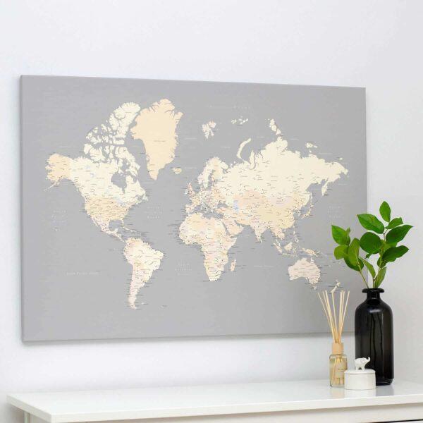 Carte du monde a epingles Gris Crème