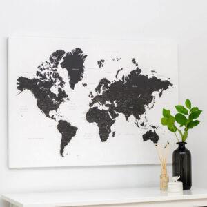 Carte du monde a epingles Noir et blanc