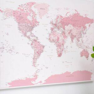 Carte du monde a epingles Rose Détaillé