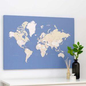 Carte du monde a epingles bleu