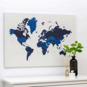 Carte du monde a epingles bleu marin
