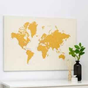 Carte du monde a epingles jaune