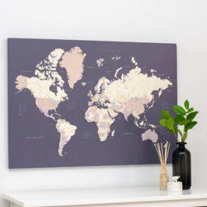 Carte du monde a epingles violet