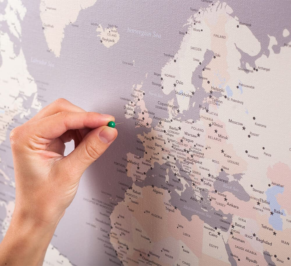Carte du monde avec punaises Gris Crème