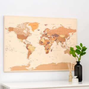 Carte du monde avec punaises Marron Détaillé