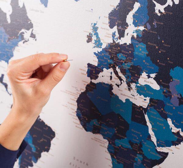 Carte du monde avec punaises bleu marin