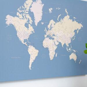 Carte du monde bleu clair tripmap
