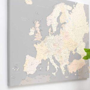 La carte de lEurope avec épingles gris creme detaille