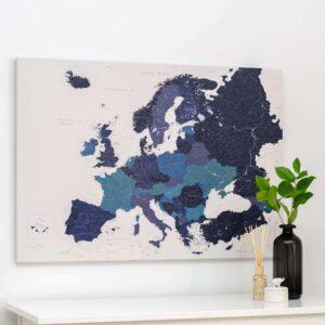 carte de l europe avec epingles bleu marin detaille