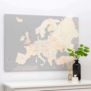 carte de leurope avec epingles gris creme detaille