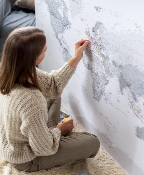 gris Carte du monde pour mettre des punaise