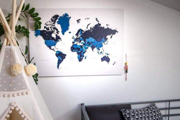 toile carte du monde bleu marin tripmap fr