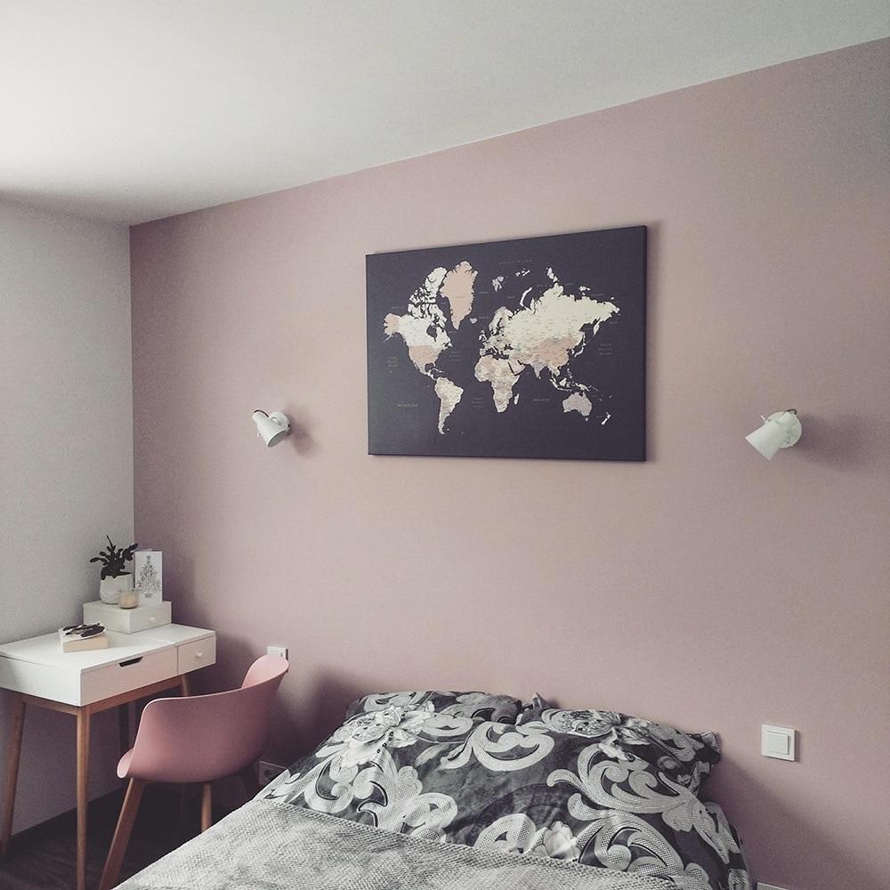 world map in bedroom