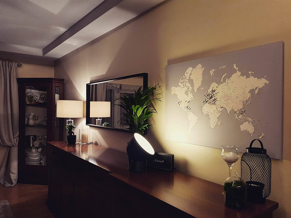 world map wall art with pins