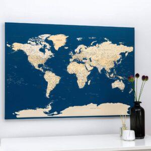 Carte du monde a epingles Bleu foncé Détaillé