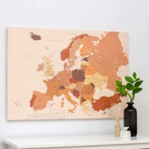 carte-de-l-europe-avec-epingles-Brun (Détaillé)