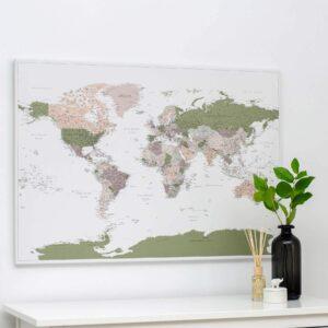 Carte du monde a epingles Vert Violet Détaillé