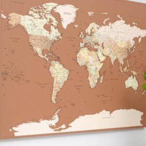 Carte du monde Marron beige Détaillé tripmap