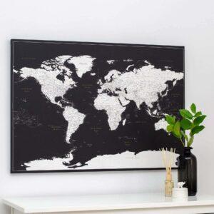 Carte du monde Noir moderne Détaillé tripmap
