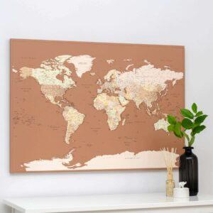 Carte du monde a epingles Marron beige Détaillé