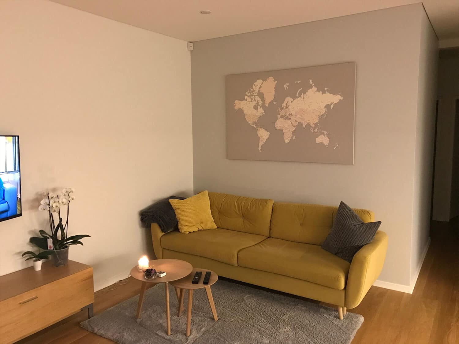 world map grey with pins