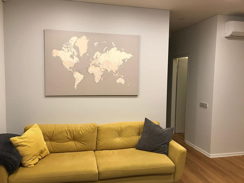 world map interior decor grey