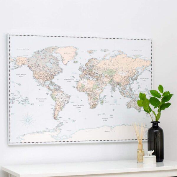 Carte du monde a epingles Rétro bleu clair Détaillé