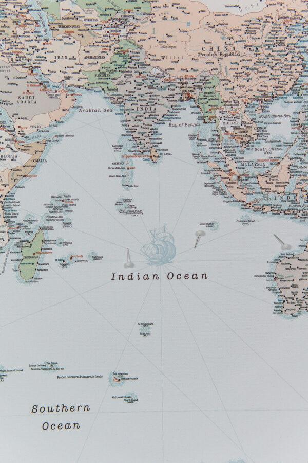 Carte du voyage a epingles Rétro bleu clair Détaillé