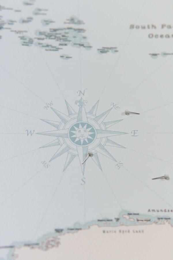 mappemonde carte avec epingles Rétro bleu clair Détaillé