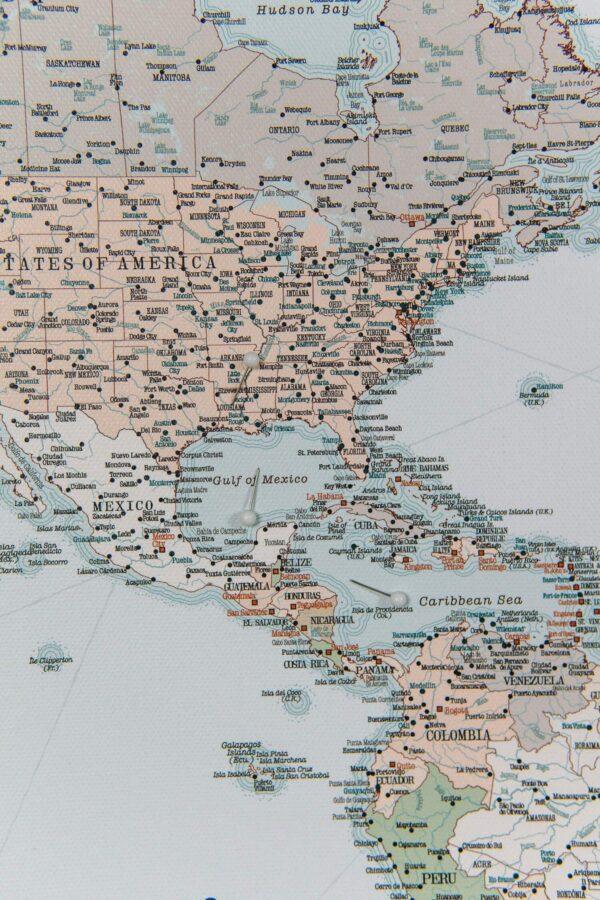 toile carte du monde Rétro bleu clair Détaillé tripmap fr