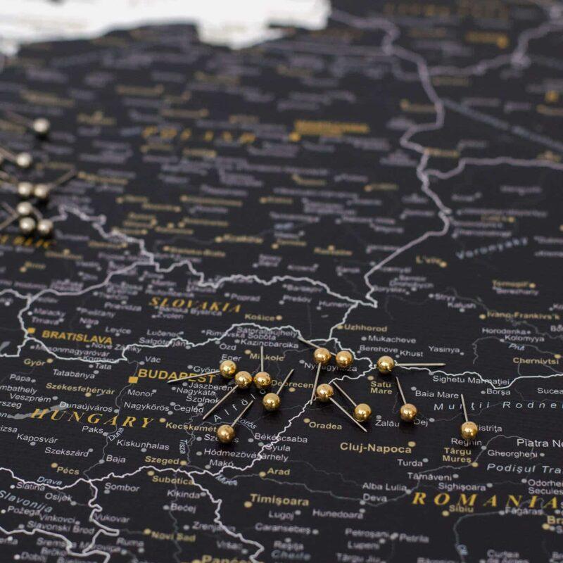 Carte avec épingles Noir (Détaillé) tripmap