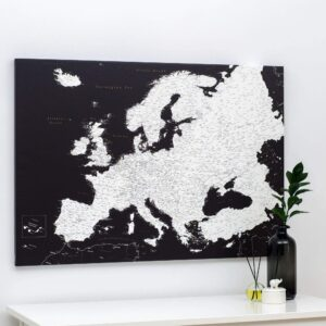 Carte de l Europe avec épingles Noir Moderne (Détaillé)