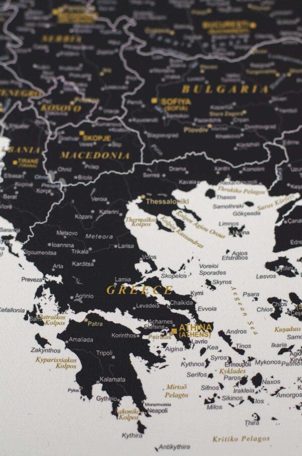 Carte de voyage à épingles Noir et blanc (Détaillé) tripmap