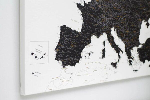 La carte de lEurope avec épingles Noir et blanc (Détaillé)
