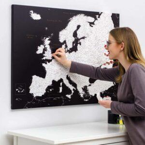 carte de l europe avec epingles Noir Moderne (Détaillé) tripmap