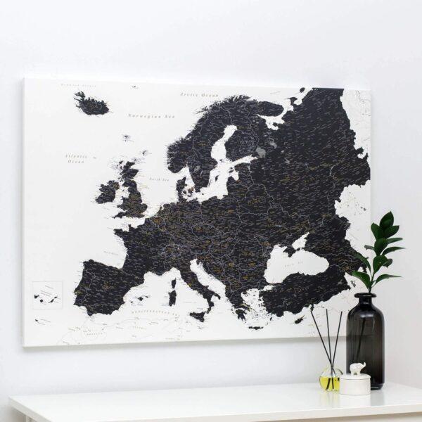 carte de l europe avec epingles Noir et blanc (Détaillé)