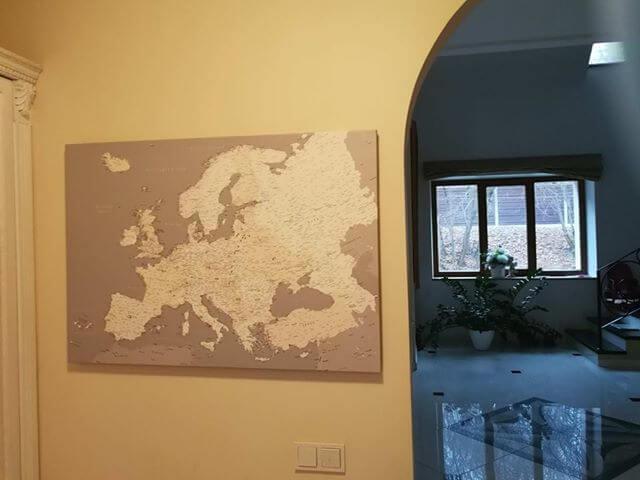 europe push pin map canvas