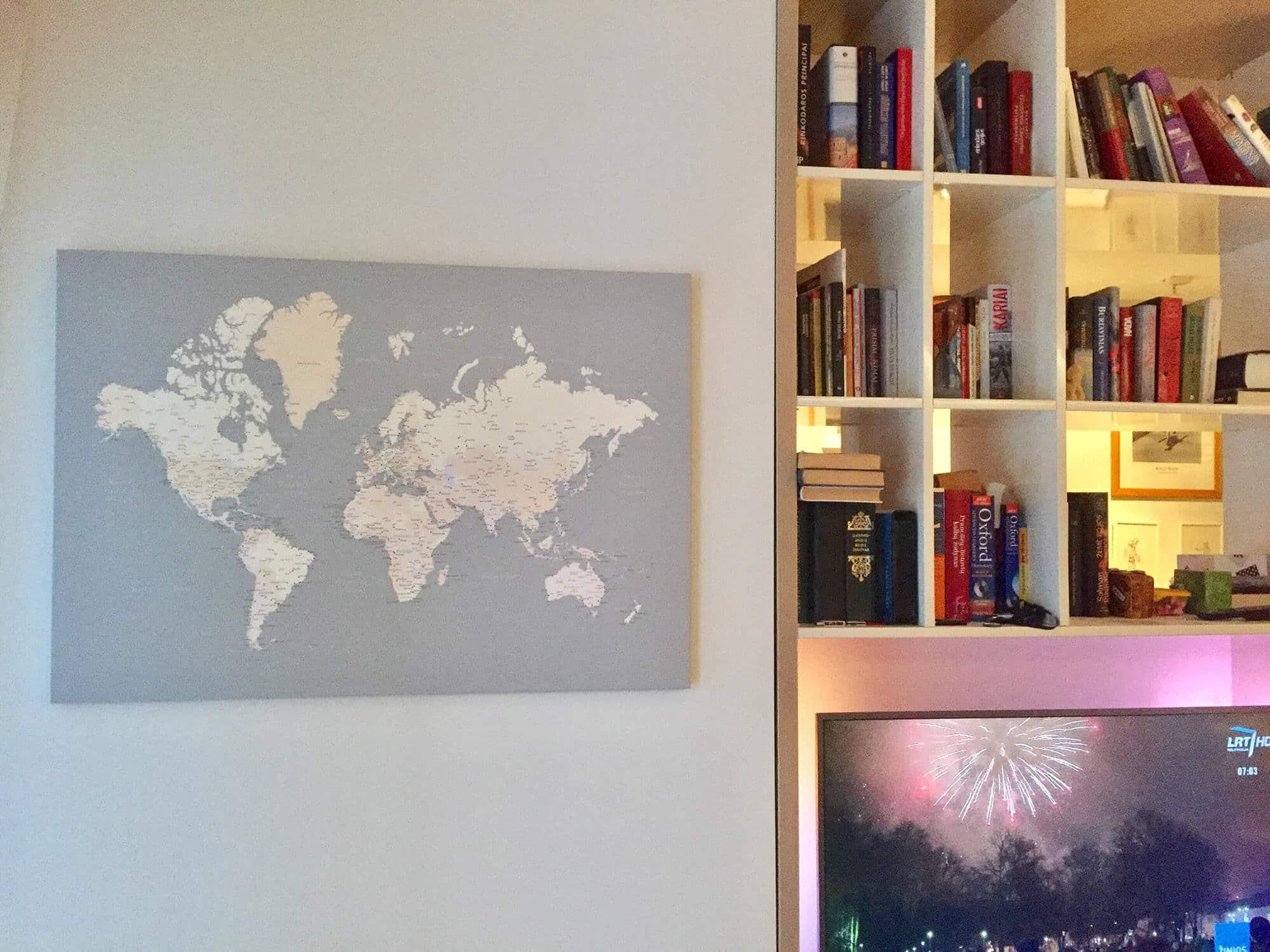 living room map decor ideas