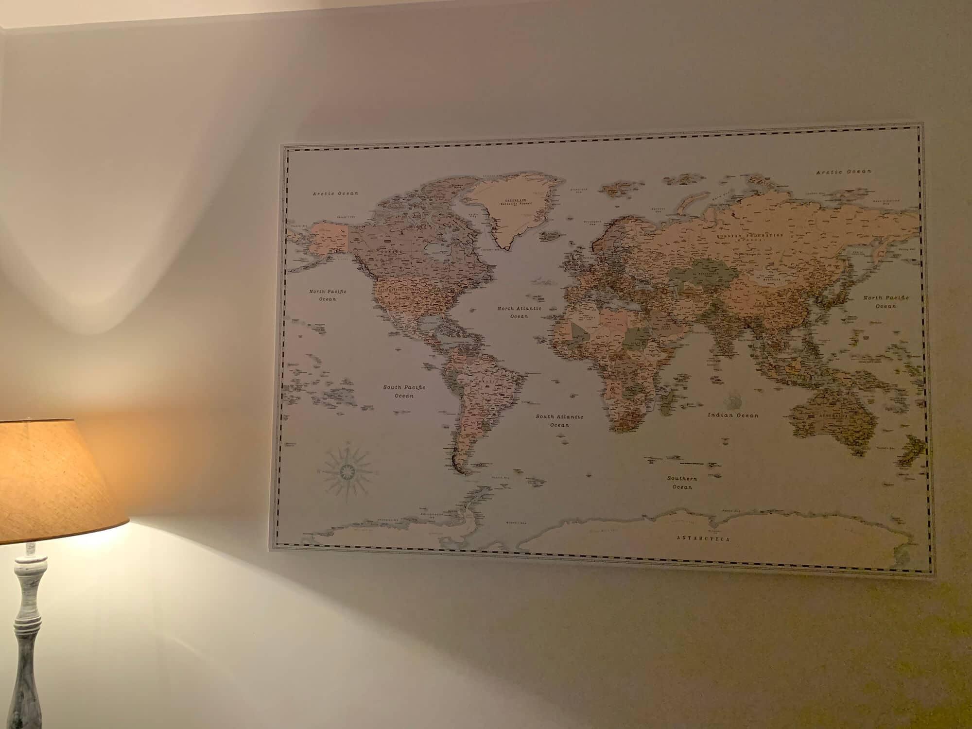 push pin retro world map livingroom decor