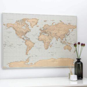 Carte du monde a epingles Ancien bleu clair marron Détaillé