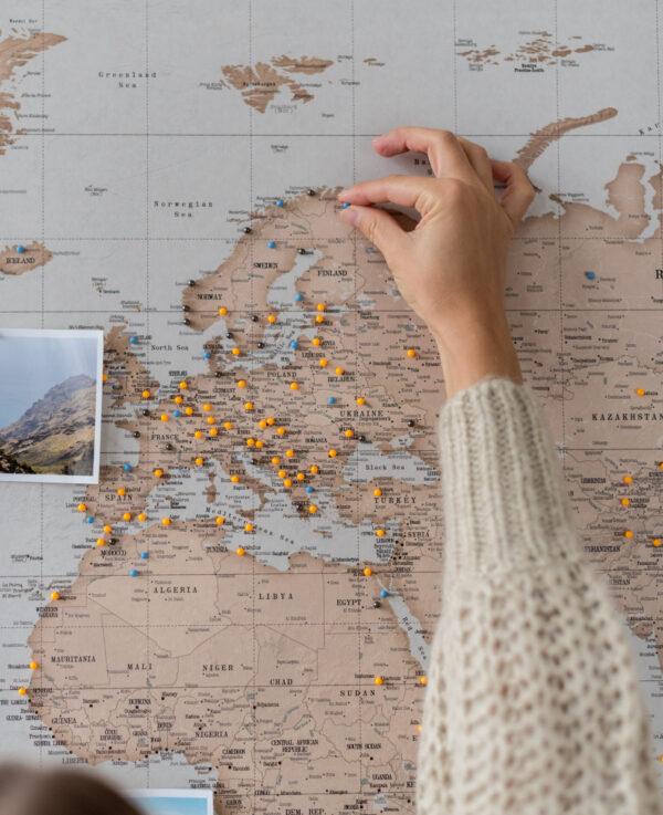 vintage carte du monde murale