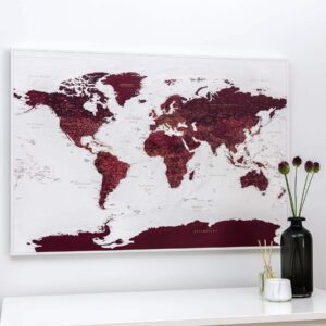 Carte du monde a epingles Bordeaux Détaillé