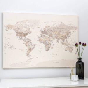 Carte du monde a epingles Sable du désert Détaillé