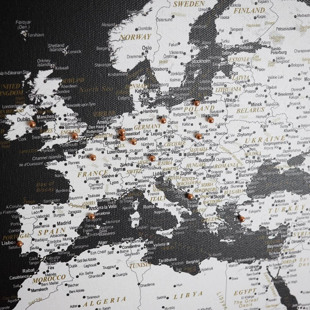 detailed black and white world map pinnable