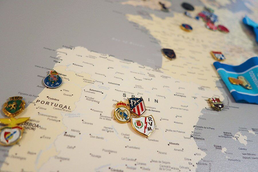football stadiums in europe map poster