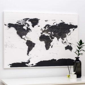 Carte du monde a epingles Noir et blanc Détaillé